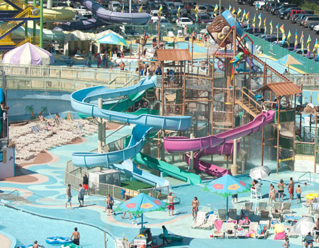 A great view of Jolly Rogers Splash Mountain Water Park in Ocean City, MD.